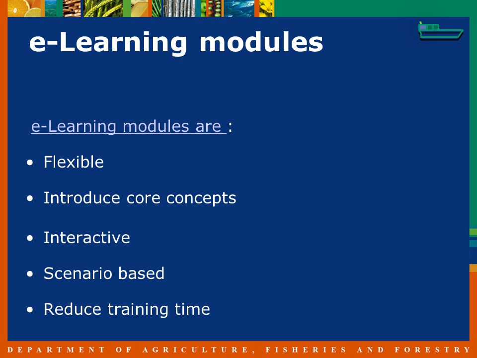 e-Learning modules e-Learning modules are :e-Learning modules are Flexible Introduce core concepts Interactive Scenario based Reduce training time