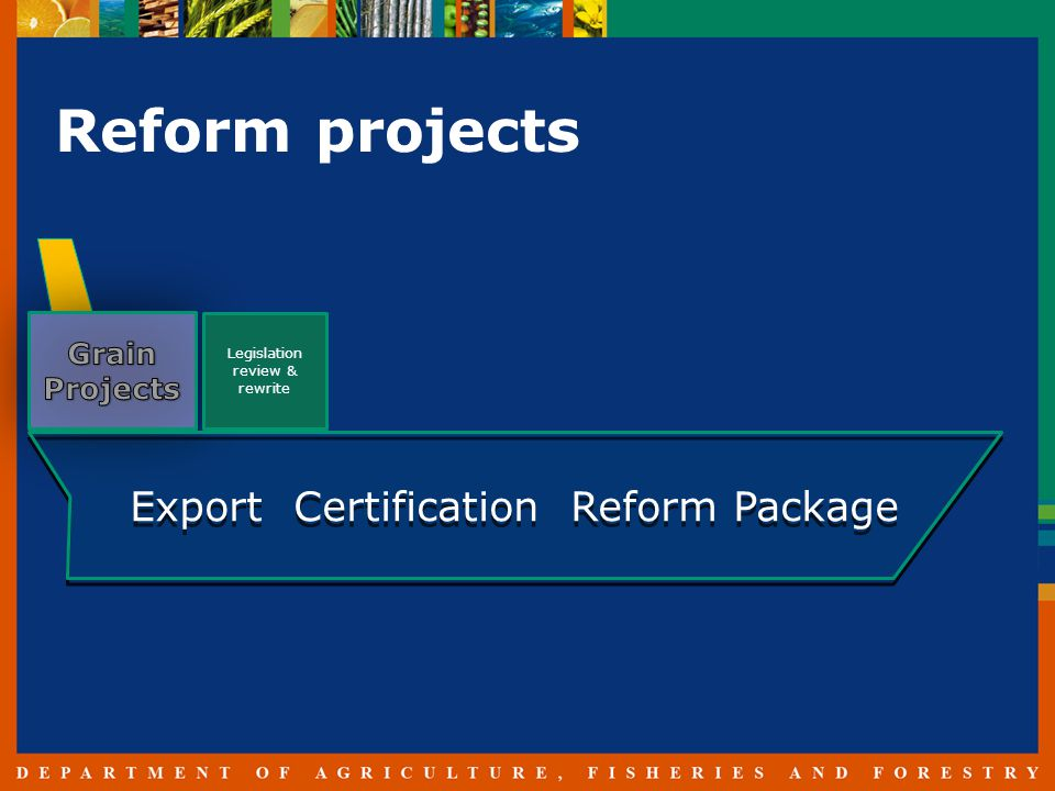 Reform projects Legislation review & rewrite Export Certification Reform Package
