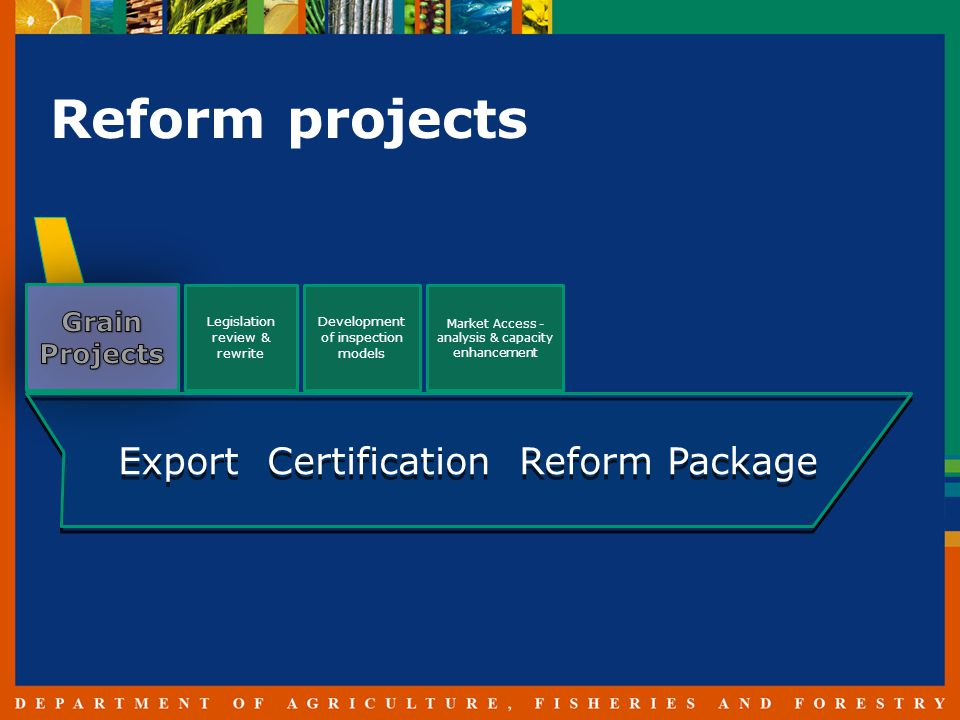 Reform projects Legislation review & rewrite Development of inspection models Market Access - analysis & capacity enhancement Export Certification Reform Package