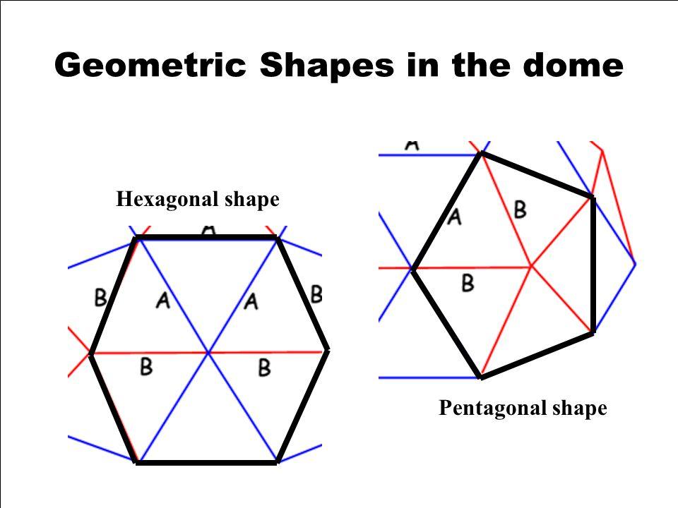 Geometric Shapes in the dome Hexagonal shape Pentagonal shape