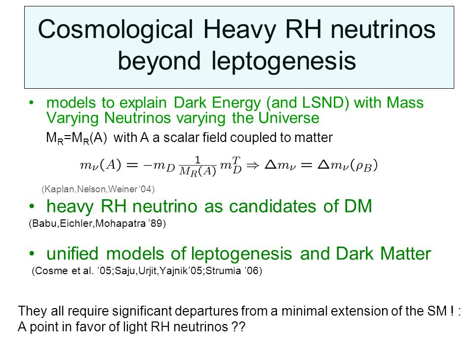 Cosmological Heavy RH neutrinos beyond leptogenesis models to explain Dark Energy (and LSND) with Mass Varying Neutrinos varying the Universe M R =M R