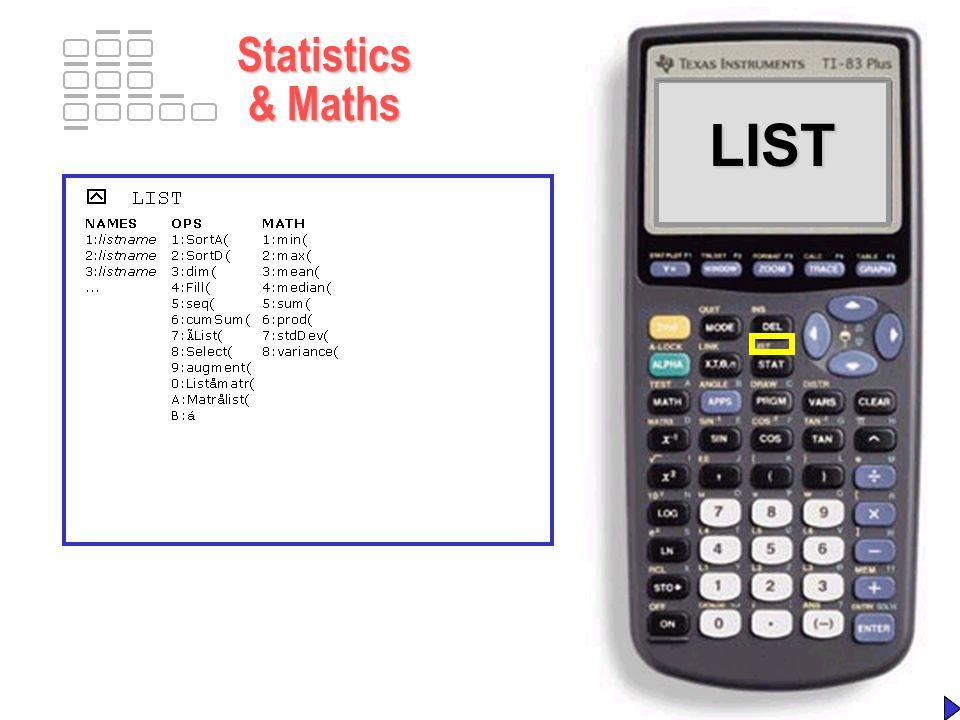 LISTLIST Statistics & Maths