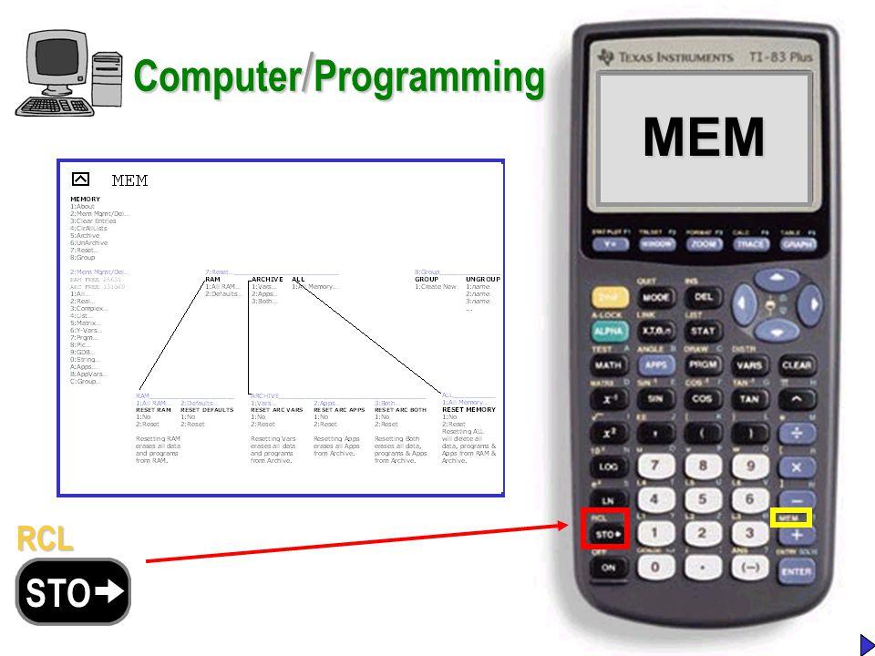 MEMMEM Computer / Programming RCL STO