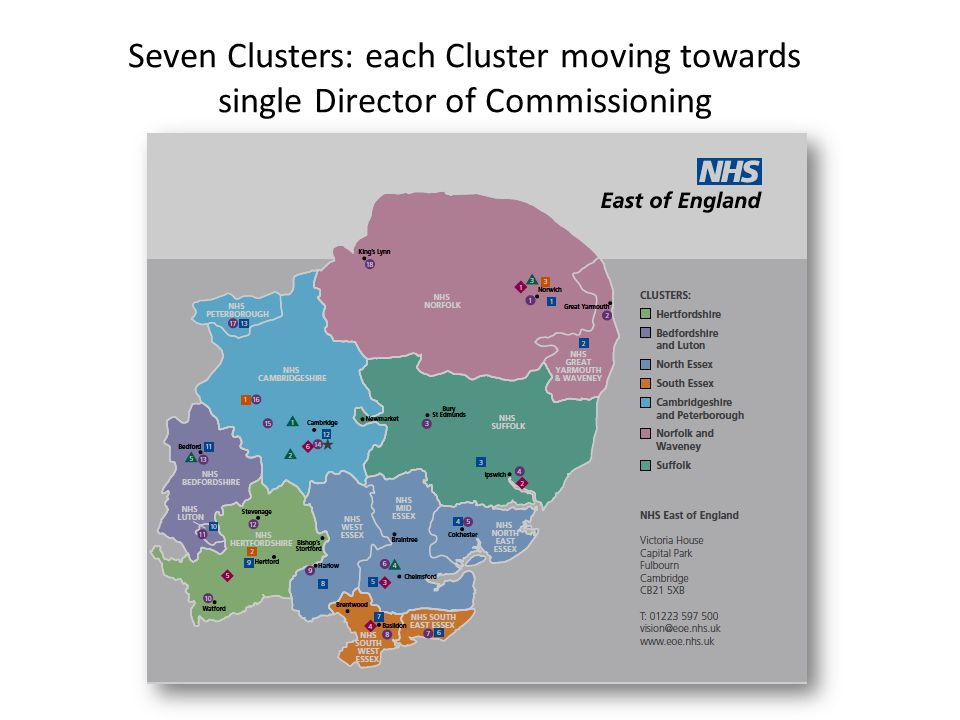 Seven Clusters: each Cluster moving towards single Director of Commissioning