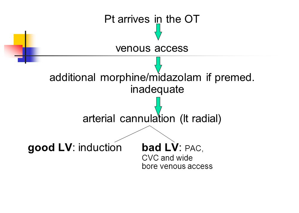 Pt arrives in the OT venous access additional morphine/midazolam if premed. inadequate arterial cannulation (lt radial) good LV: induction bad LV: PAC
