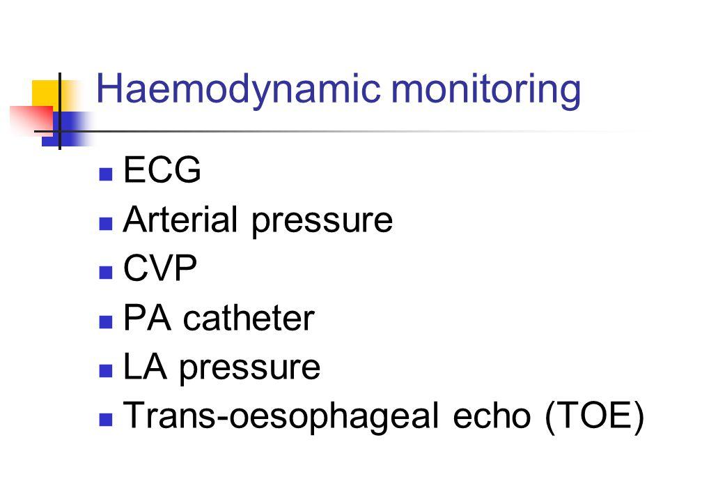 Haemodynamic monitoring ECG Arterial pressure CVP PA catheter LA pressure Trans-oesophageal echo (TOE)