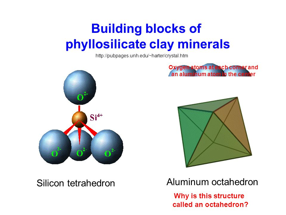 Building blocks of phyllosilicate clay minerals Silicon tetrahedron http://pubpages.unh.edu/~harter/crystal.htm Why is this structure called an octahedron.