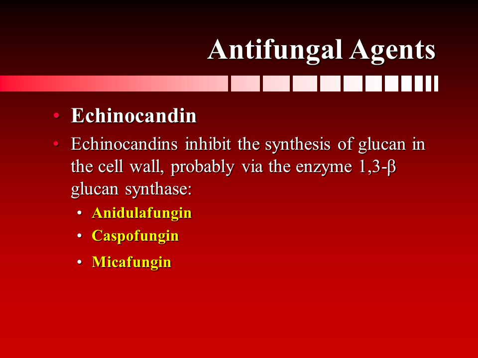 Antifungal Agents EchinocandinEchinocandin Echinocandins inhibit the synthesis of glucan in the cell wall, probably via the enzyme 1,3-β glucan synthase:Echinocandins inhibit the synthesis of glucan in the cell wall, probably via the enzyme 1,3-β glucan synthase: AnidulafunginAnidulafungin CaspofunginCaspofungin MicafunginMicafungin
