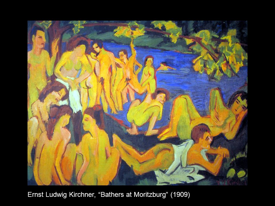 """Ernst Ludwig Kirchner, """"Bathers at Moritzburg"""" (1909)"""