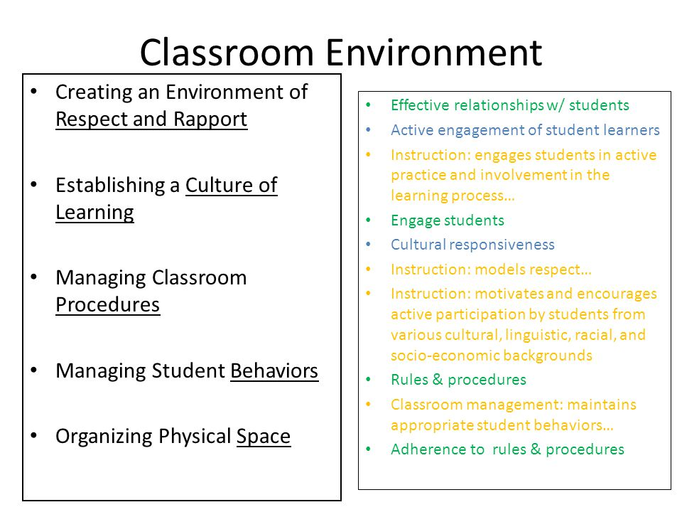 Classroom Environment Creating an Environment of Respect and Rapport Establishing a Culture of Learning Managing Classroom Procedures Managing Student Behaviors Organizing Physical Space Effective relationships w/ students Active engagement of student learners Instruction: engages students in active practice and involvement in the learning process… Engage students Cultural responsiveness Instruction: models respect… Instruction: motivates and encourages active participation by students from various cultural, linguistic, racial, and socio-economic backgrounds Rules & procedures Classroom management: maintains appropriate student behaviors… Adherence to rules & procedures