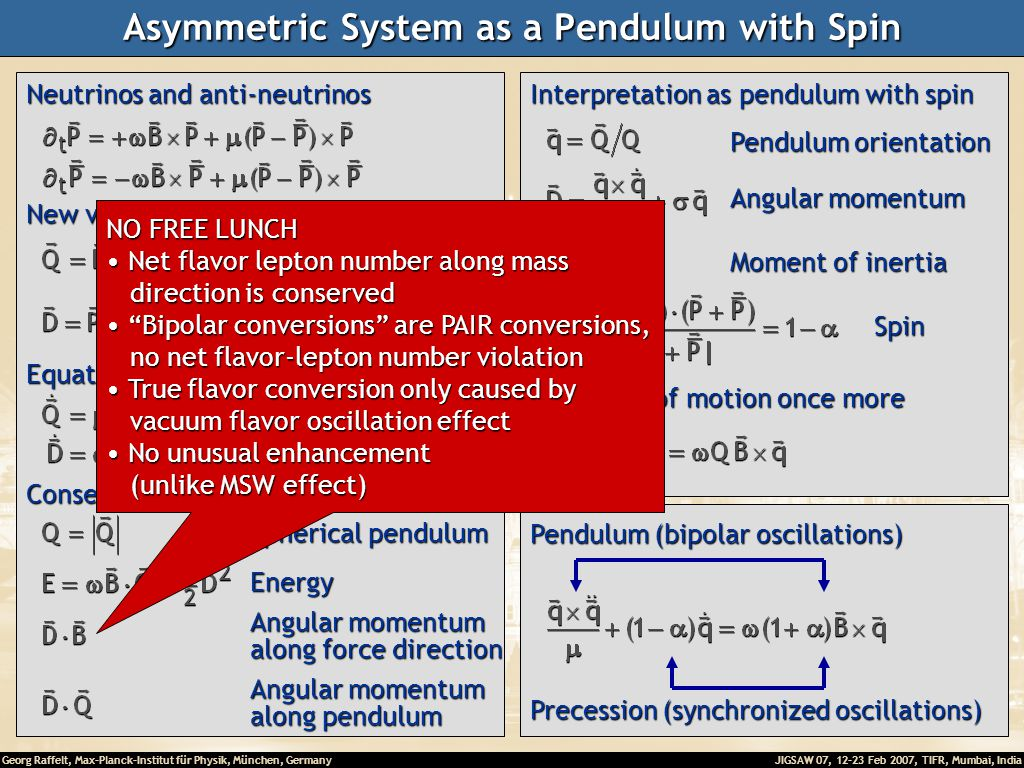 Georg Raffelt, Max-Planck-Institut für Physik, München, Germany JIGSAW 07, 12-23 Feb 2007, TIFR, Mumbai, India Asymmetric System as a Pendulum with Spin Neutrinos and anti-neutrinos New variables Essentially particle number ( ) Lepton number ( ) Equations of motion Conserved quantities Spherical pendulum Energy Angular momentum along force direction Angular momentum along pendulum Interpretation as pendulum with spin Pendulum orientation Angular momentum Moment of inertia Spin Equations of motion once more Precession (synchronized oscillations) Pendulum (bipolar oscillations) NO FREE LUNCH Net flavor lepton number along mass Net flavor lepton number along mass direction is conserved direction is conserved Bipolar conversions are PAIR conversions, Bipolar conversions are PAIR conversions, no net flavor-lepton number violation no net flavor-lepton number violation True flavor conversion only caused by True flavor conversion only caused by vacuum flavor oscillation effect vacuum flavor oscillation effect No unusual enhancement No unusual enhancement (unlike MSW effect) (unlike MSW effect)