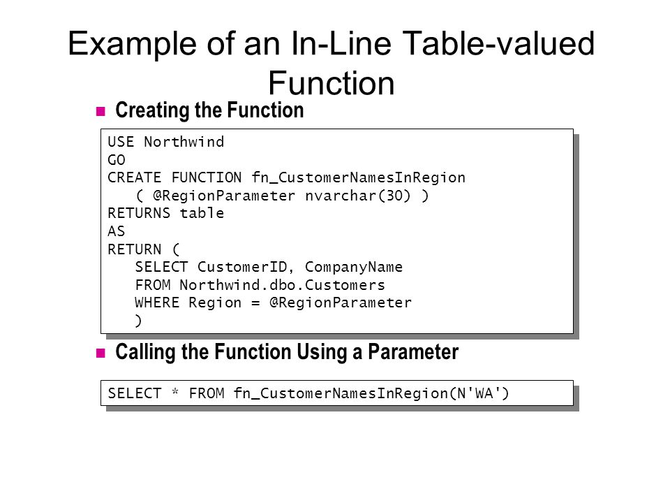 Example of an In-Line Table-valued Function Creating the Function Calling the Function Using a Parameter USE Northwind GO CREATE FUNCTION fn_CustomerNamesInRegion ( @RegionParameter nvarchar(30) ) RETURNS table AS RETURN ( SELECT CustomerID, CompanyName FROM Northwind.dbo.Customers WHERE Region = @RegionParameter ) USE Northwind GO CREATE FUNCTION fn_CustomerNamesInRegion ( @RegionParameter nvarchar(30) ) RETURNS table AS RETURN ( SELECT CustomerID, CompanyName FROM Northwind.dbo.Customers WHERE Region = @RegionParameter ) SELECT * FROM fn_CustomerNamesInRegion(N WA )