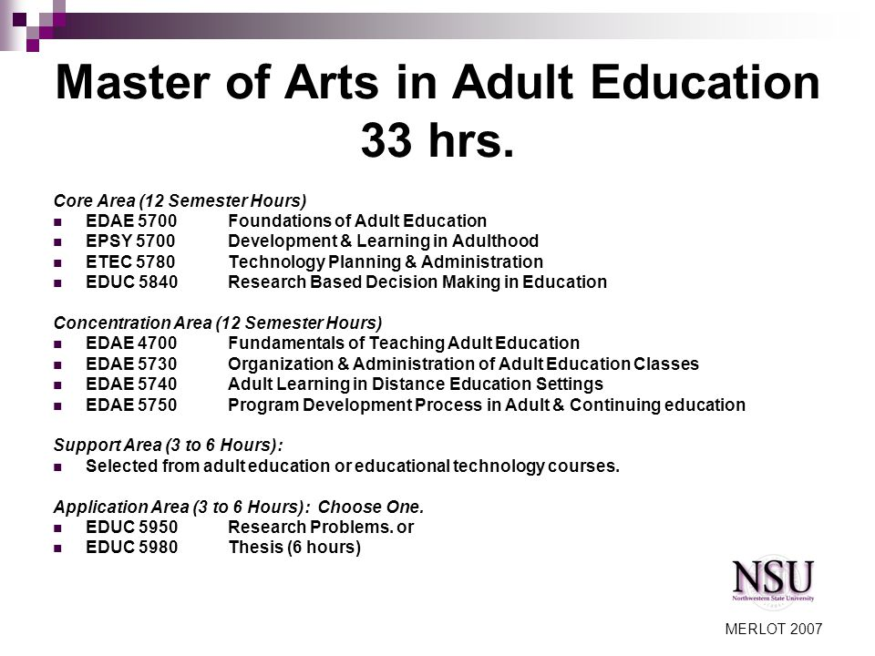 MERLOT 2007 Master of Arts in Adult Education 33 hrs.
