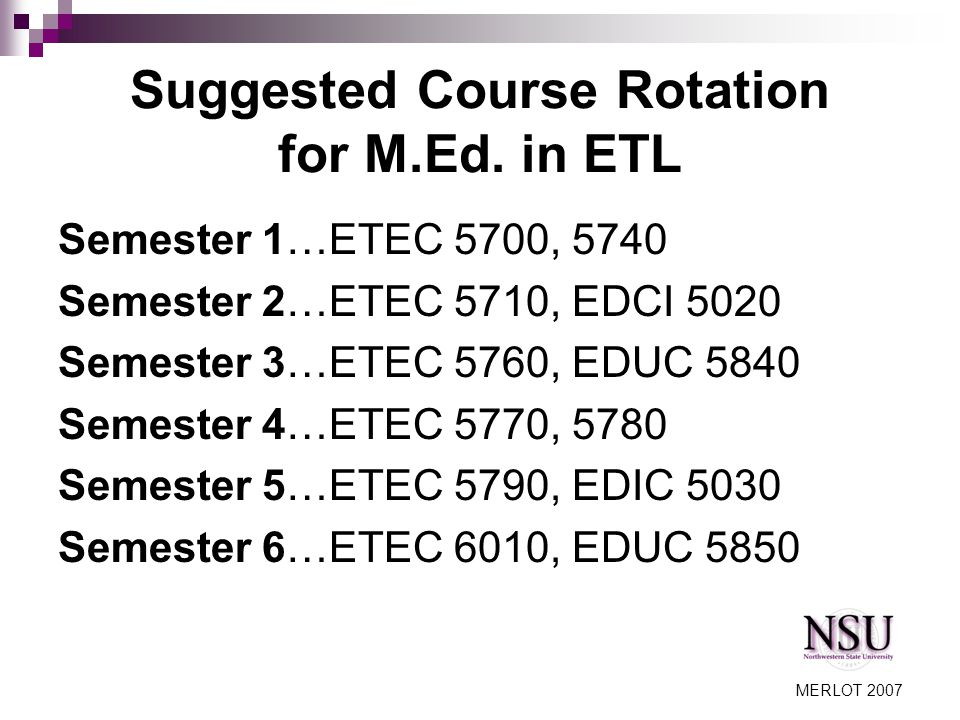 MERLOT 2007 Suggested Course Rotation for M.Ed.