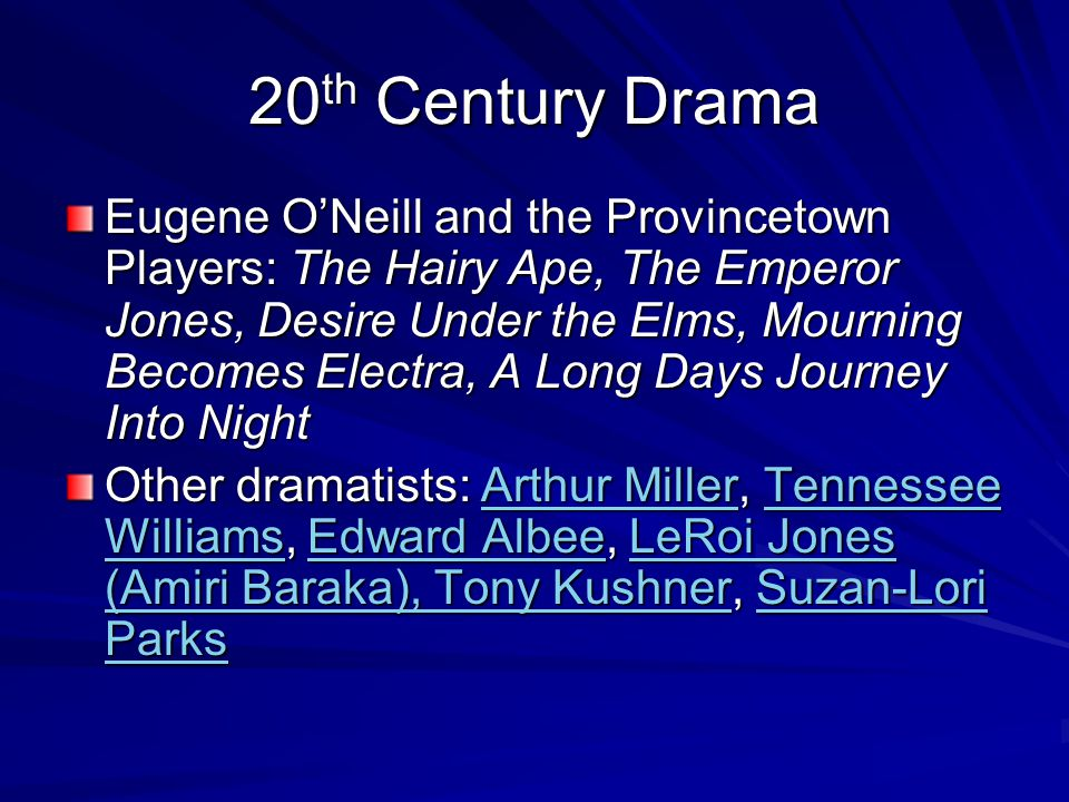 20 th Century Drama Eugene O'Neill and the Provincetown Players: The Hairy Ape, The Emperor Jones, Desire Under the Elms, Mourning Becomes Electra, A Long Days Journey Into Night Other dramatists: Arthur Miller, Tennessee Williams, Edward Albee, LeRoi Jones (Amiri Baraka), Tony Kushner, Suzan-Lori Parks Arthur MillerTennessee WilliamsEdward AlbeeLeRoi Jones (Amiri Baraka), Tony KushnerSuzan-Lori ParksArthur MillerTennessee WilliamsEdward AlbeeLeRoi Jones (Amiri Baraka), Tony KushnerSuzan-Lori Parks