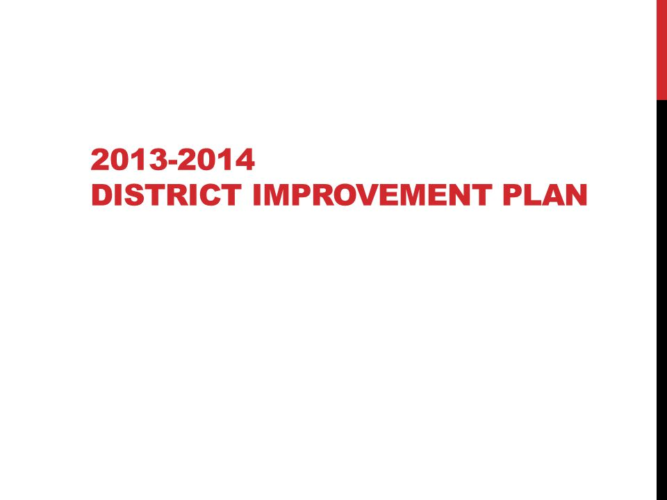 2013-2014 DISTRICT IMPROVEMENT PLAN