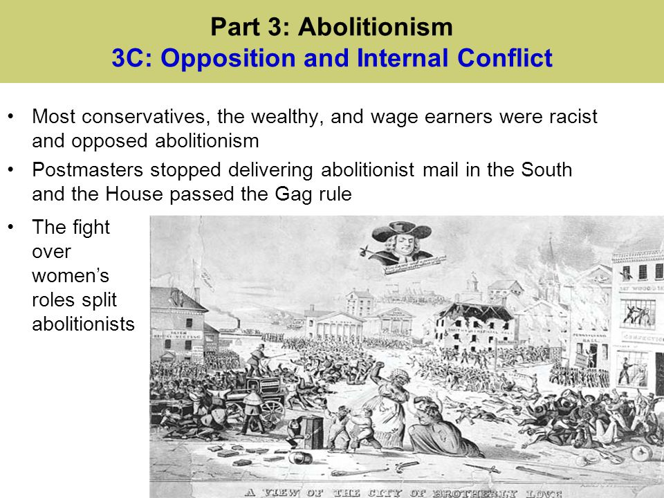 Part 3: Abolitionism 3C: Opposition and Internal Conflict Most conservatives, the wealthy, and wage earners were racist and opposed abolitionism Postm