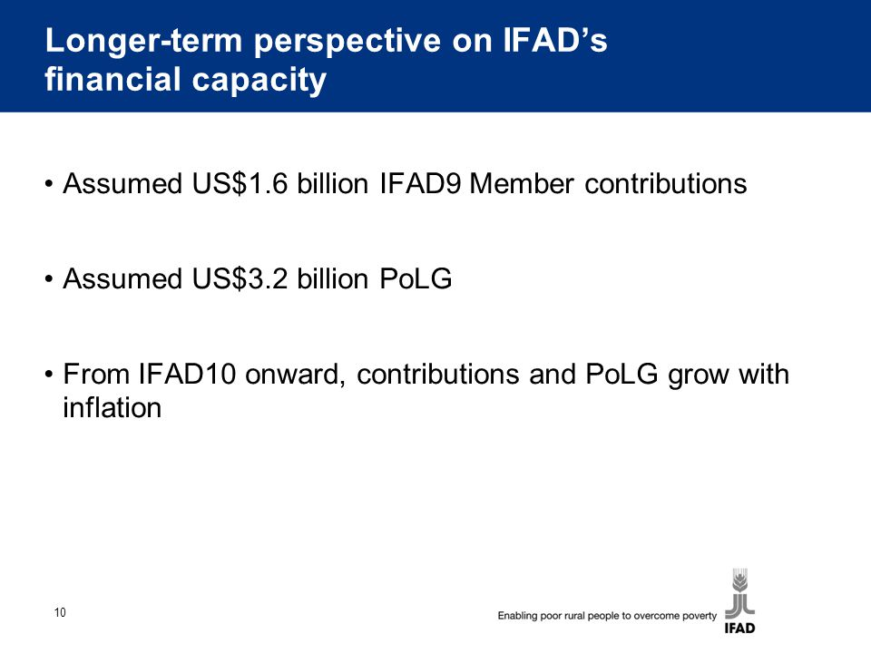 10 Longer-term perspective on IFAD's financial capacity Assumed US$1.6 billion IFAD9 Member contributions Assumed US$3.2 billion PoLG From IFAD10 onward, contributions and PoLG grow with inflation