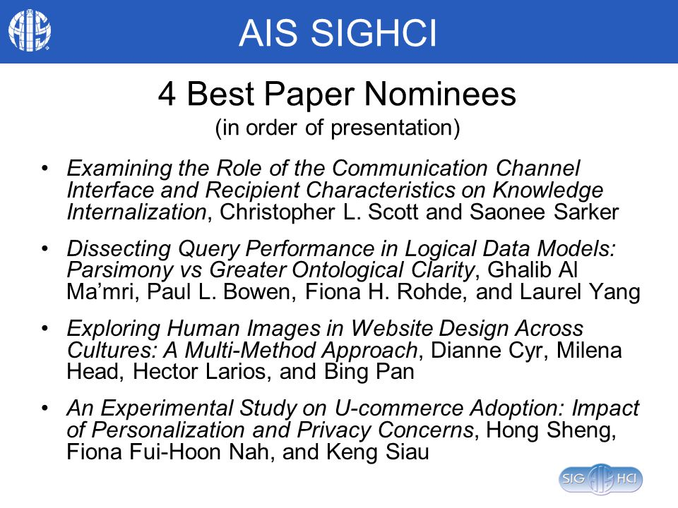 AIS SIGHCI 4 Best Paper Nominees (in order of presentation) Examining the Role of the Communication Channel Interface and Recipient Characteristics on Knowledge Internalization, Christopher L.