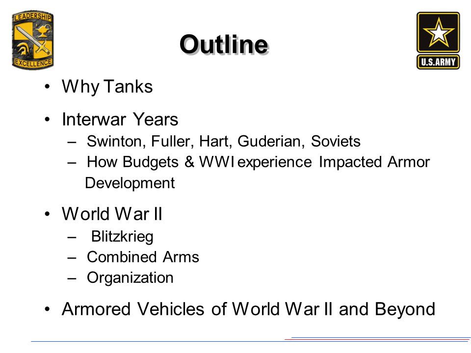 Outline Why Tanks Interwar Years – Swinton, Fuller, Hart, Guderian, Soviets – How Budgets & WWI experience Impacted Armor Development World War II – B