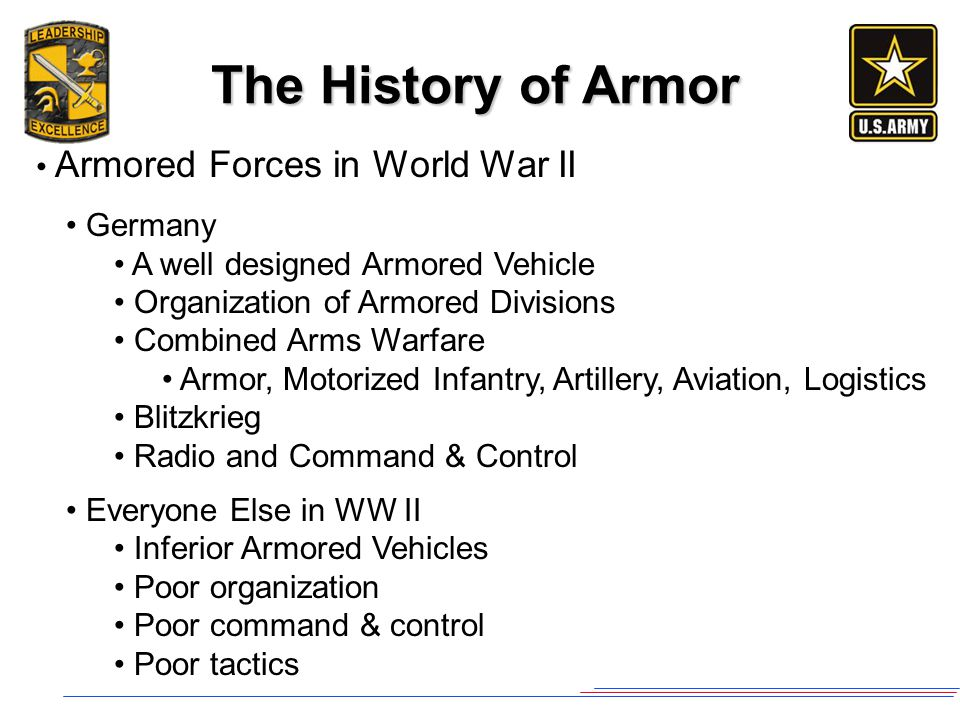 The History of Armor Armored Forces in World War II Germany A well designed Armored Vehicle Organization of Armored Divisions Combined Arms Warfare Ar