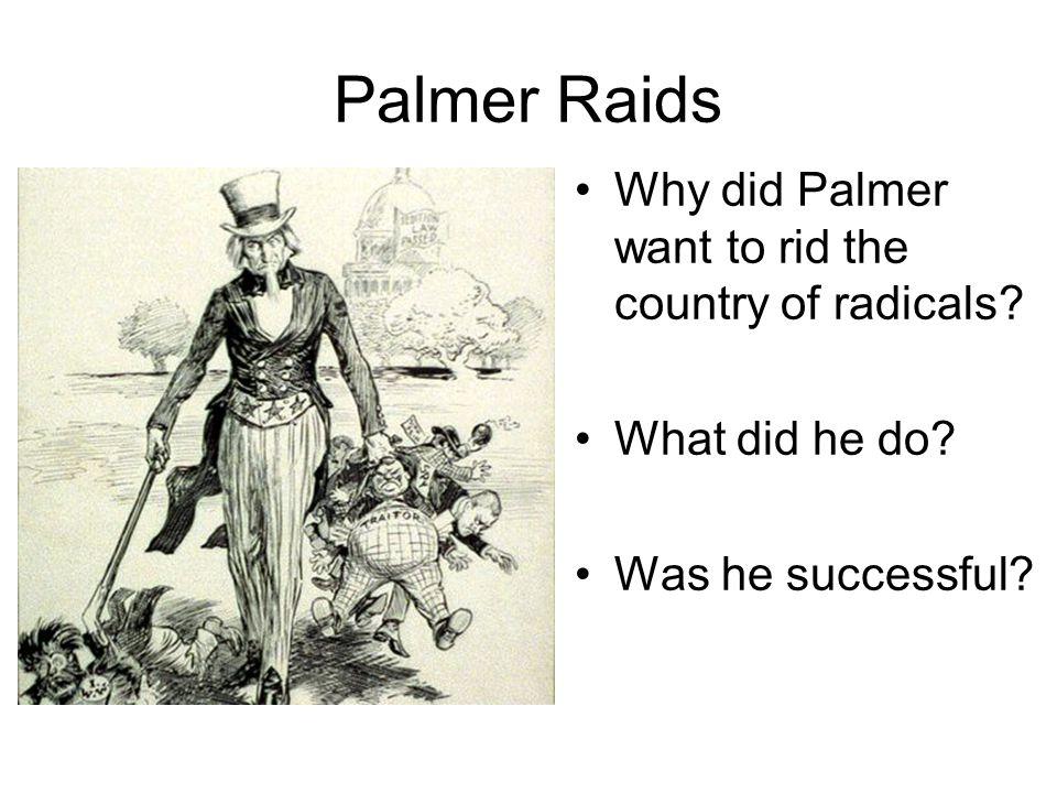 Why did Palmer want to rid the country of radicals? What did he do? Was he successful?