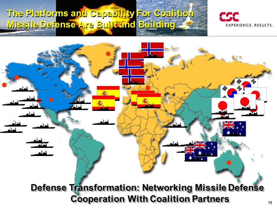 18 Defense Transformation: Networking Missile Defense Defense Transformation: Networking Missile Defense Cooperation With Coalition Partners Cooperation With Coalition Partners Defense Transformation: Networking Missile Defense Defense Transformation: Networking Missile Defense Cooperation With Coalition Partners Cooperation With Coalition Partners The Platforms and Capability For Coalition Missile Defense Are Built and Building The Platforms and Capability For Coalition Missile Defense Are Built and Building