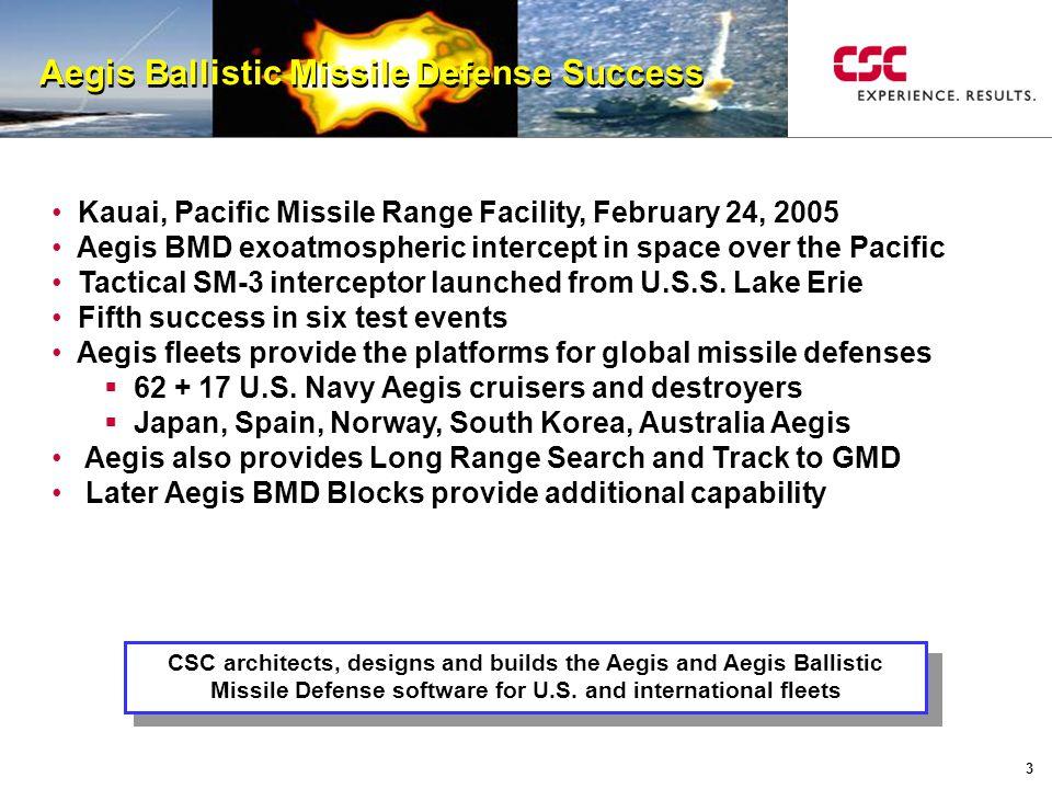 3 Aegis Ballistic Missile Defense Success Kauai, Pacific Missile Range Facility, February 24, 2005 Aegis BMD exoatmospheric intercept in space over th