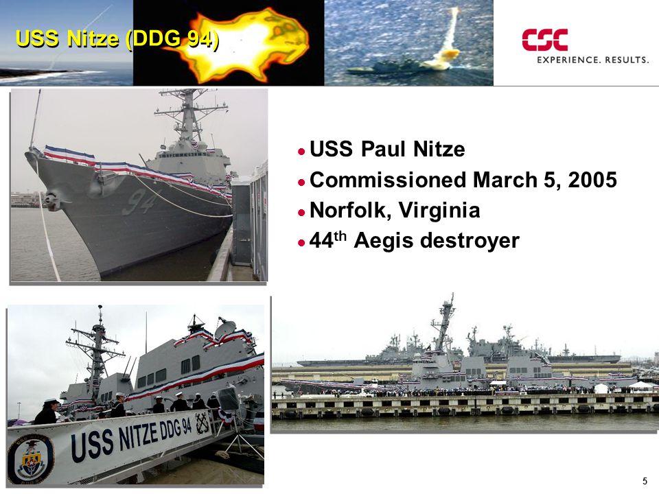 5 USS Nitze (DDG 94) ● USS Paul Nitze ● Commissioned March 5, 2005 ● Norfolk, Virginia ● 44 th Aegis destroyer