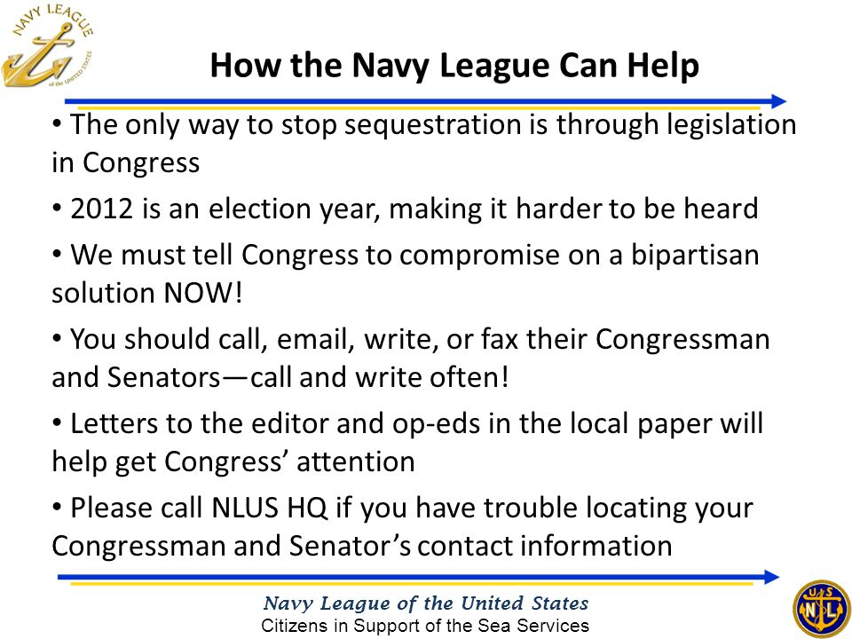 The only way to stop sequestration is through legislation in Congress 2012 is an election year, making it harder to be heard We must tell Congress to compromise on a bipartisan solution NOW.