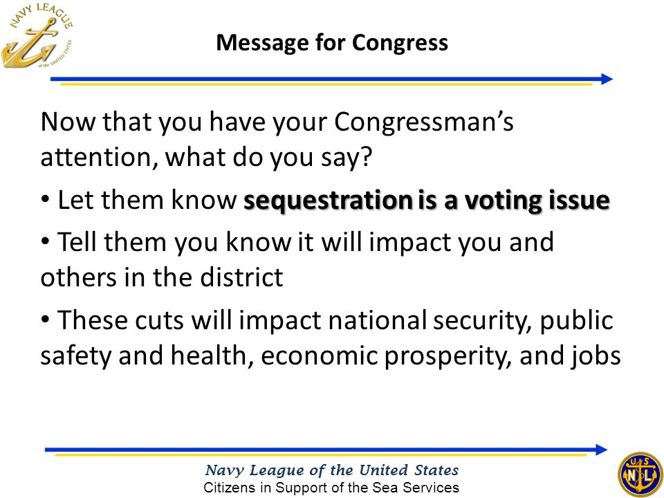 Now that you have your Congressman's attention, what do you say? sequestration is a voting issue Let them know sequestration is a voting issue Tell th