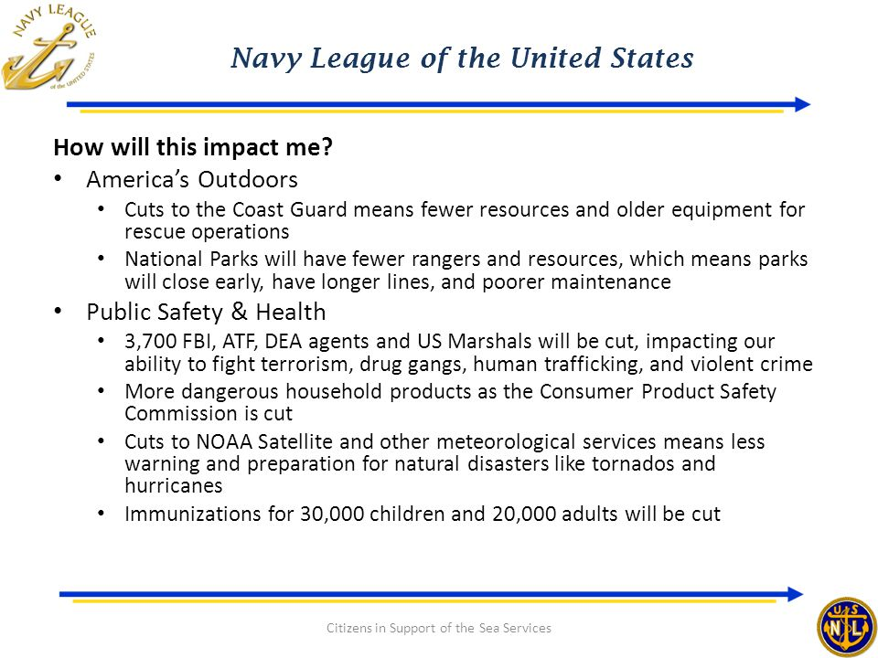 Navy League of the United States Citizens in Support of the Sea Services How will this impact me? America's Outdoors Cuts to the Coast Guard means few