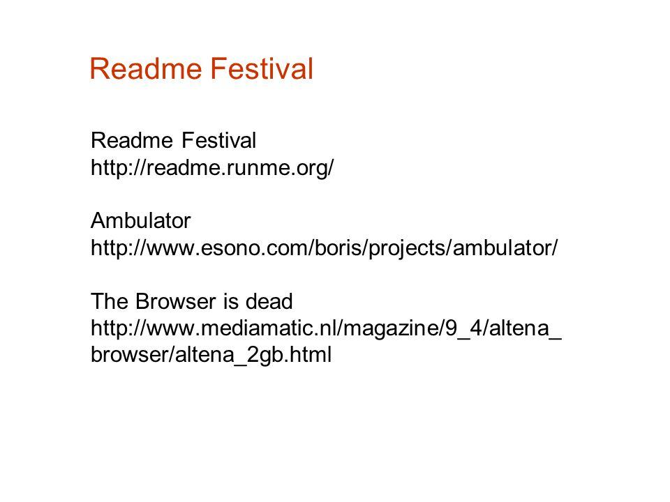 Readme Festival Readme Festival http://readme.runme.org/ Ambulator http://www.esono.com/boris/projects/ambulator/ The Browser is dead http://www.media