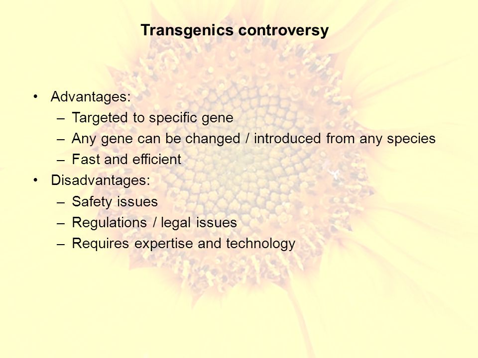 Transgenics controversy Advantages: –Targeted to specific gene –Any gene can be changed / introduced from any species –Fast and efficient Disadvantages: –Safety issues –Regulations / legal issues –Requires expertise and technology