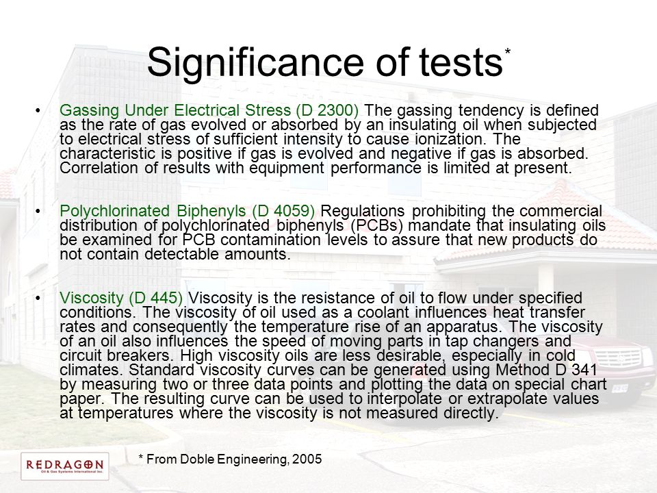 Significance of tests * Gassing Under Electrical Stress (D 2300) The gassing tendency is defined as the rate of gas evolved or absorbed by an insulati