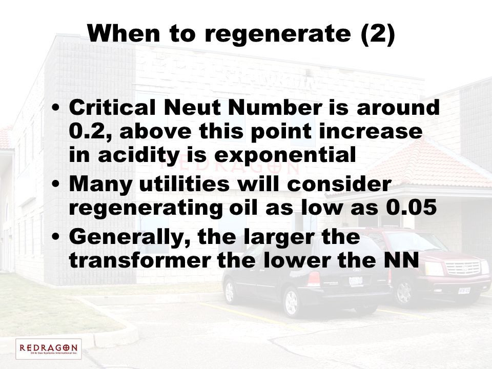 When to regenerate (2) Critical Neut Number is around 0.2, above this point increase in acidity is exponential Many utilities will consider regenerati