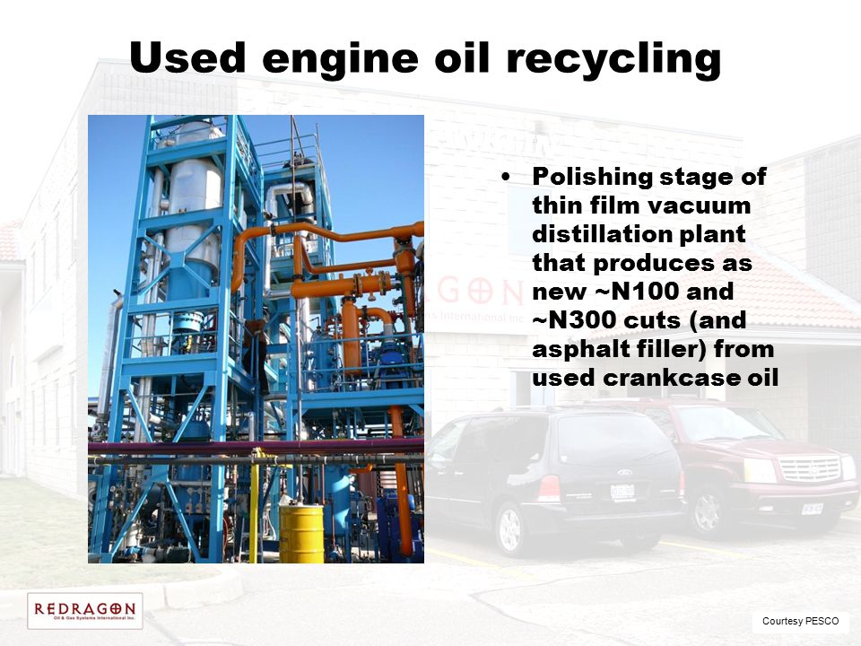 Used engine oil recycling Polishing stage of thin film vacuum distillation plant that produces as new ~N100 and ~N300 cuts (and asphalt filler) from u