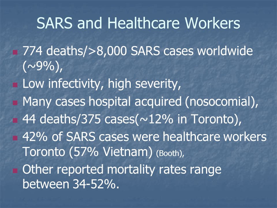 SARS and Healthcare Workers 774 deaths/>8,000 SARS cases worldwide (~9%), Low infectivity, high severity, Many cases hospital acquired (nosocomial), 44 deaths/375 cases(~12% in Toronto), 42% of SARS cases were healthcare workers Toronto (57% Vietnam) (Booth), Other reported mortality rates range between 34-52%.