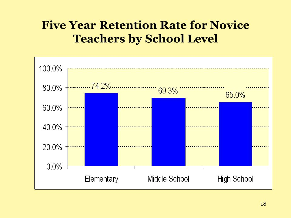 18 Five Year Retention Rate for Novice Teachers by School Level