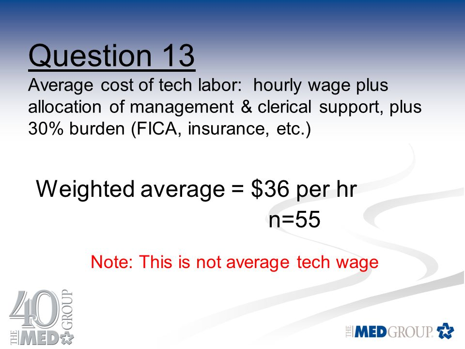 Question 13 Average cost of tech labor: hourly wage plus allocation of management & clerical support, plus 30% burden (FICA, insurance, etc.) Weighted average = $36 per hr n=55 Note: This is not average tech wage