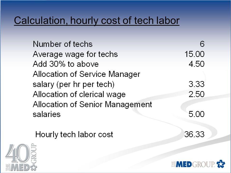 Calculation, hourly cost of tech labor