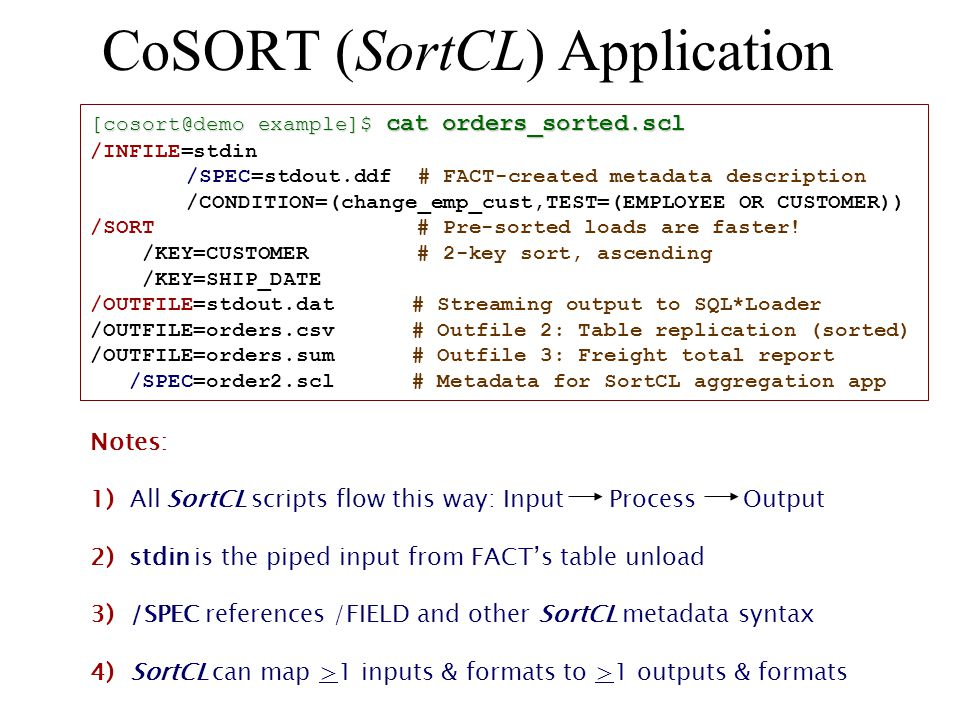 CoSORT (SortCL) Application [cosort@demo example]$ cat orders_sorted.scl /INFILE=stdin /SPEC=stdout.ddf # FACT-created metadata description /CONDITION=(change_emp_cust,TEST=(EMPLOYEE OR CUSTOMER)) /SORT # Pre-sorted loads are faster.
