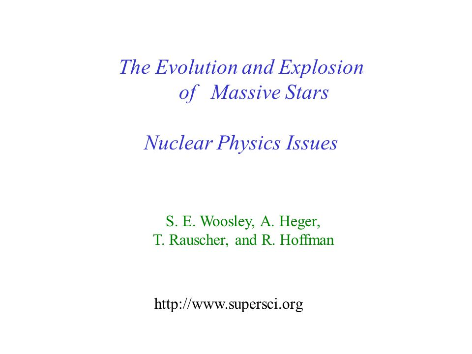The Evolution and Explosion of Massive Stars Nuclear Physics Issues S.