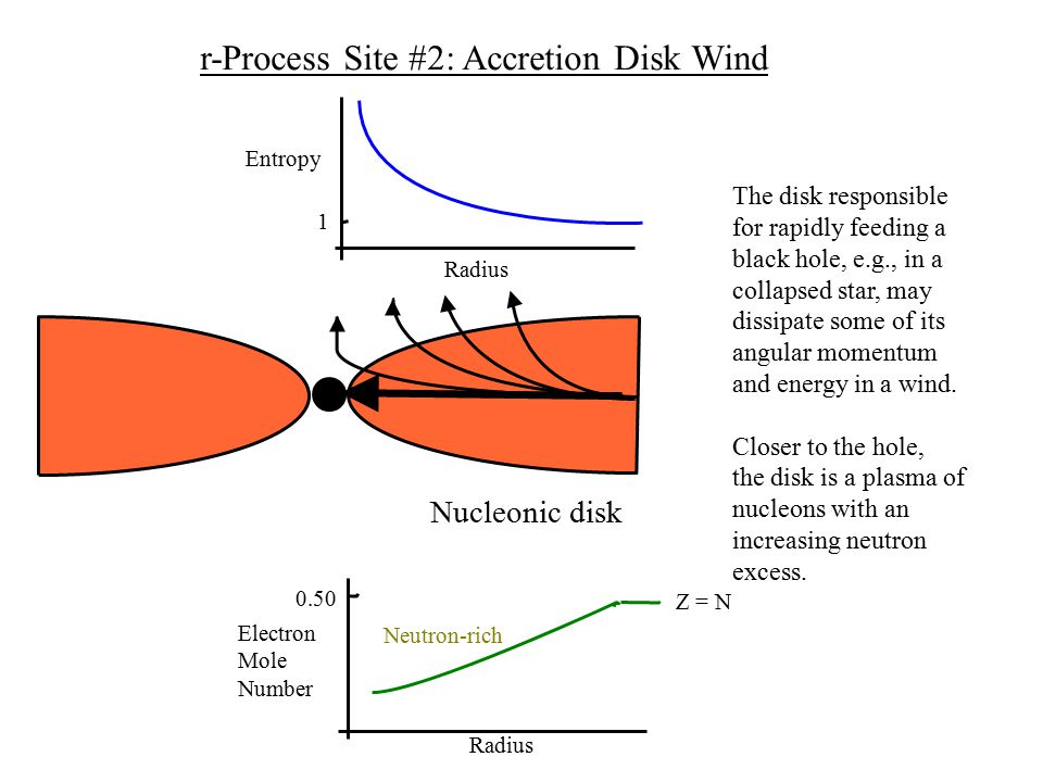 Nucleonic disk 0.50 Z = N Radius Electron Mole Number Neutron-rich 1 Entropy Radius The disk responsible for rapidly feeding a black hole, e.g., in a collapsed star, may dissipate some of its angular momentum and energy in a wind.