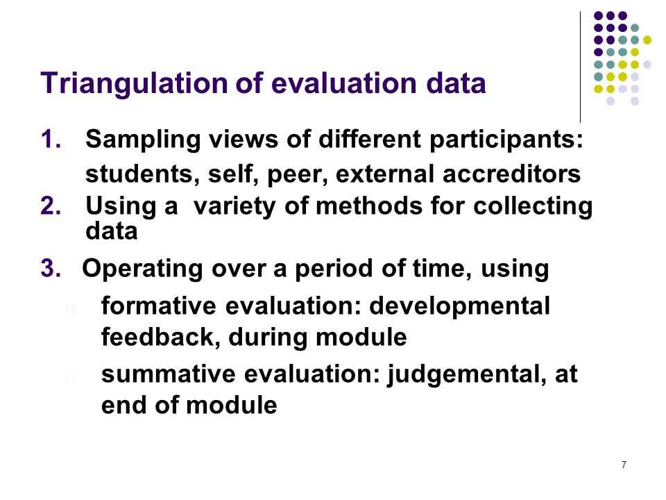 Triangulation of evaluation data 1.Sampling views of different participants: students, self, peer, external accreditors 2.Using a variety of methods for collecting data 3.Operating over a period of time, using l formative evaluation: developmental feedback, during module l summative evaluation: judgemental, at end of module 7