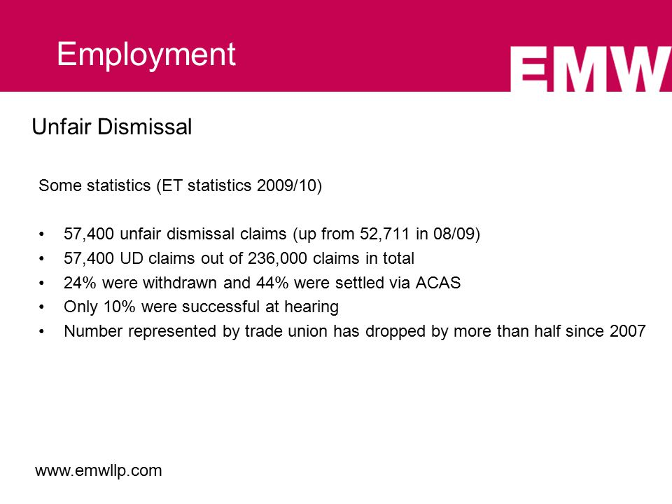 Unfair Dismissal Some statistics (ET statistics 2009/10) 57,400 unfair dismissal claims (up from 52,711 in 08/09) 57,400 UD claims out of 236,000 claims in total 24% were withdrawn and 44% were settled via ACAS Only 10% were successful at hearing Number represented by trade union has dropped by more than half since 2007 Employment www.emwllp.com