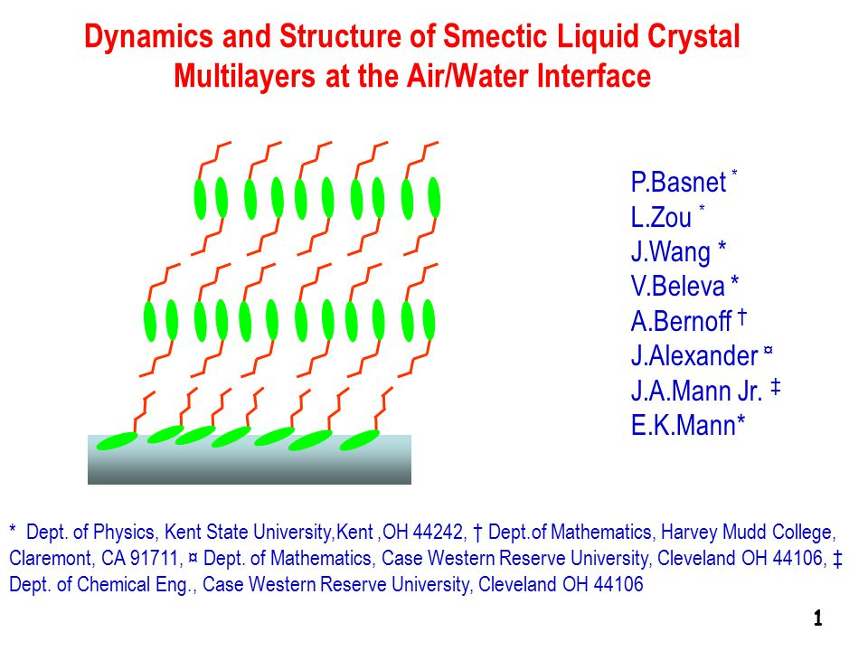 Dynamics and Structure of Smectic Liquid Crystal Multilayers at the Air/Water Interface P.Basnet * L.Zou * J.Wang * V.Beleva * A.Bernoff † J.Alexander ¤ J.A.Mann Jr.