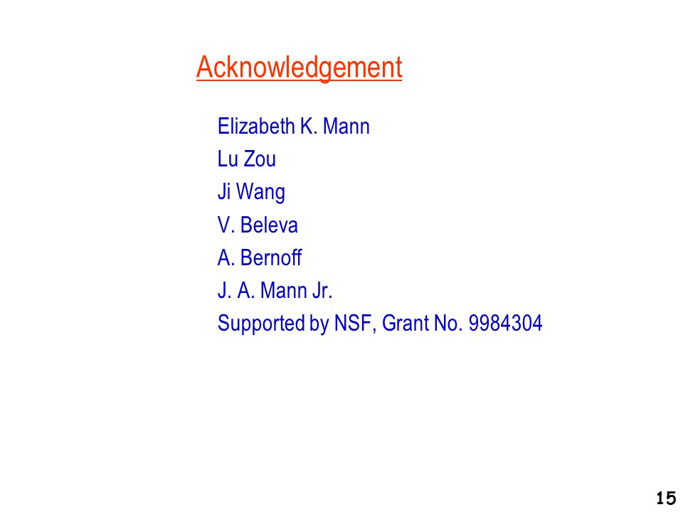 Acknowledgement Elizabeth K. Mann Lu Zou Ji Wang V.