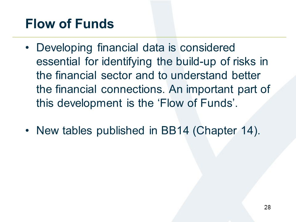Flow of Funds Developing financial data is considered essential for identifying the build-up of risks in the financial sector and to understand better the financial connections.