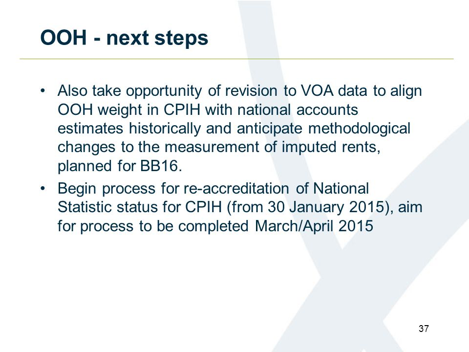 OOH - next steps Also take opportunity of revision to VOA data to align OOH weight in CPIH with national accounts estimates historically and anticipate methodological changes to the measurement of imputed rents, planned for BB16.